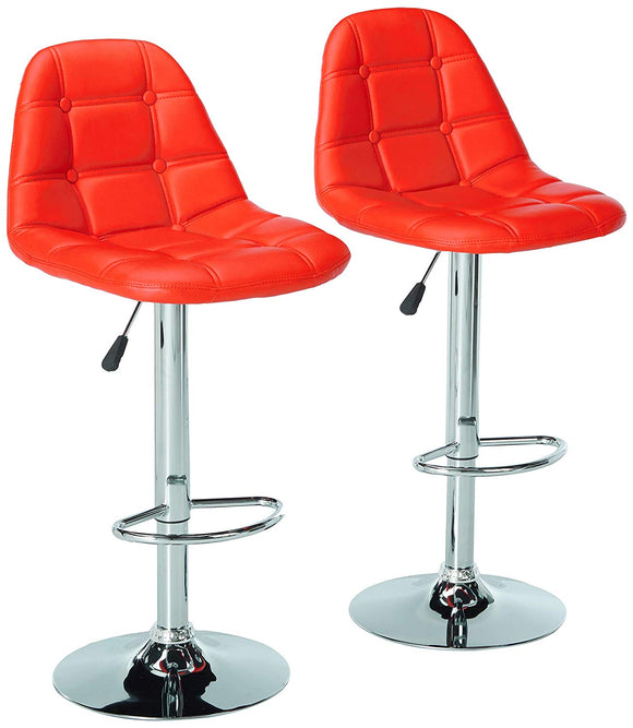Jenni Bar Stools, Red Vinyl & Chrome Metal