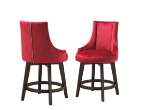 "Walden 25""H Counter Height Stools, Red Fabric & Cappuccino Wood"