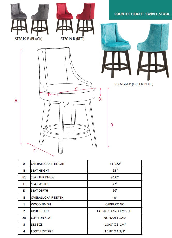 Amazing Walden 25H Swivel Counter Height Bar Stools Red Fabric Cjindustries Chair Design For Home Cjindustriesco