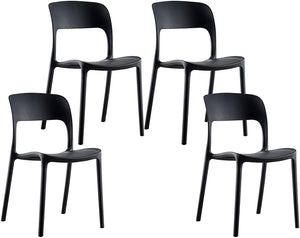 Dulles Stackable Chairs, Black Plastic
