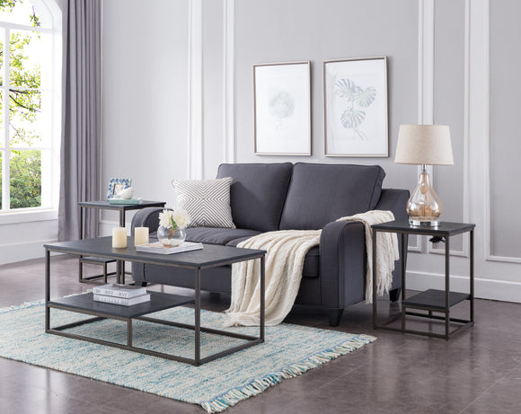 Nibley 3 Piece Coffee Table Set, Pewter Metal & Black Wood