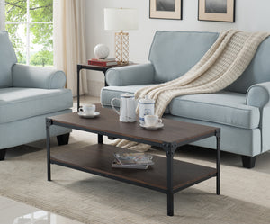Abel Black & Walnut Metal & Wood Occasional Cocktail Coffee Table With Storage Shelf - Pilaster Designs