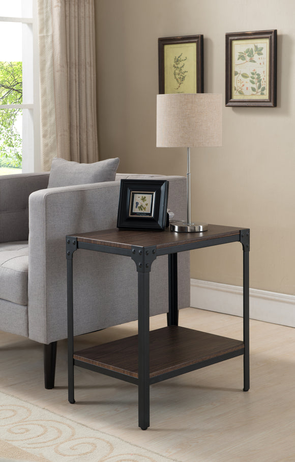 Abel Black & Walnut Metal & Wood Occasional Magazine Snack Side Sofa Table With Storage Shelf - Pilaster Designs