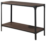 Catalina Console Table, Black Metal & Walnut Wood