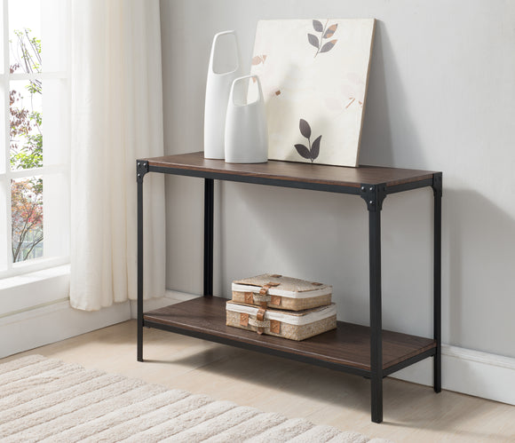 Abel Black & Walnut Wood & Metal Modern Occasional Side Entryway Console Display Table With Storage Shelf - Pilaster Designs