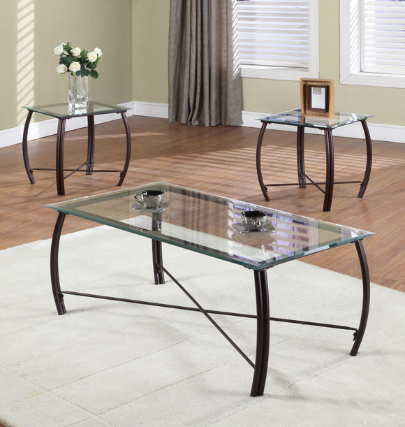 Paula 3 Piece Coffee Table Set, Copper Metal & Beveled Glass