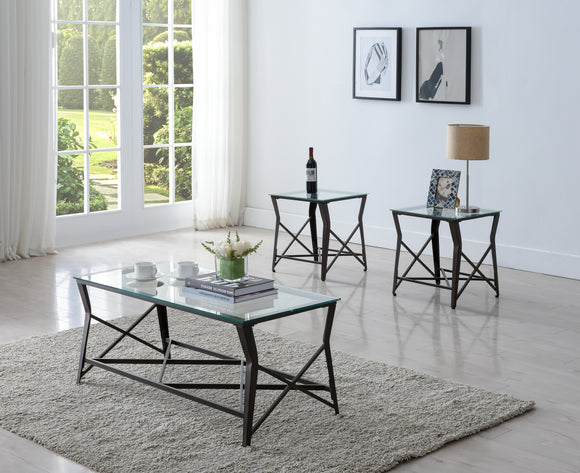 Olten 3 Piece Coffee Table Set, Bronze Metal & Tempered Glass