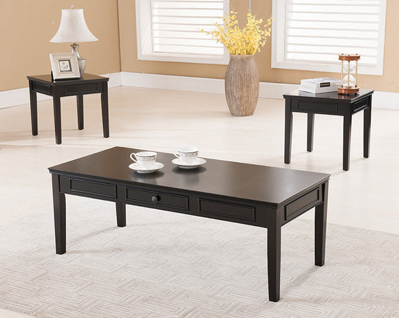 Pearl 3 Piece Coffee Table Set, Black Wood