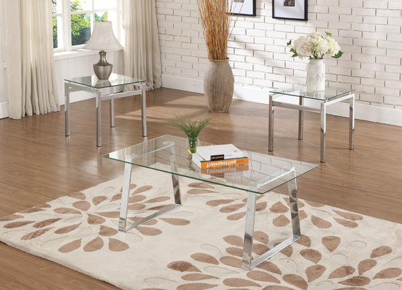 Macaria Chrome Metal & Tempered Glass Top Modern Occasional Tables (Optional Coffee & End) - Pilaster Designs