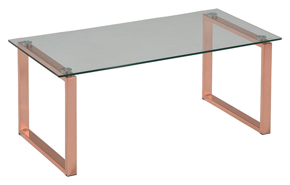 Andi Rose Gold Metal & Tempered Glass Top Modern Occasional  Tables (Optional Coffee & End) - Pilaster Designs
