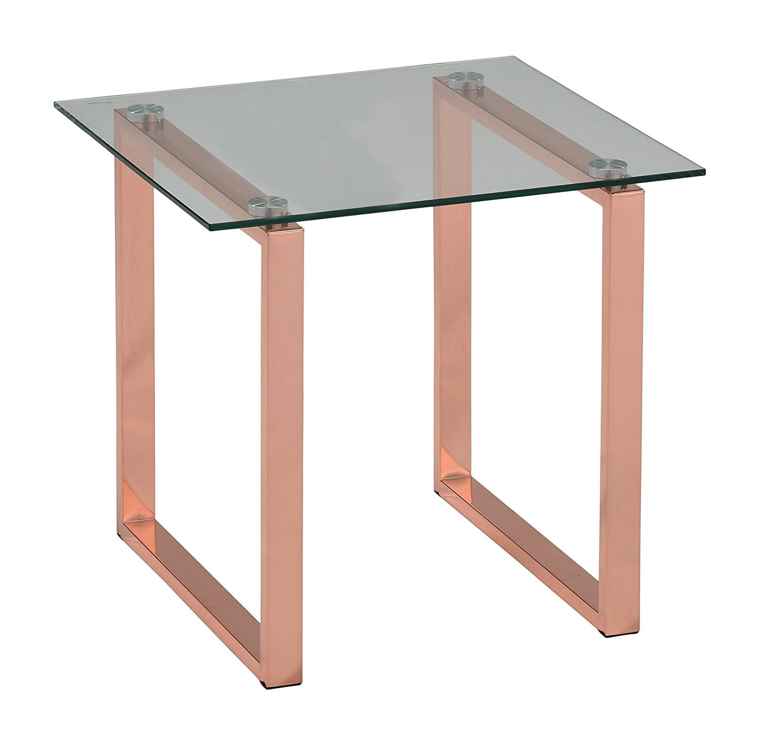 Andi Rose Gold Metal Tempered Glass Top Modern Occasional Tables
