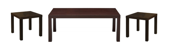 Vanda 3 Piece Coffee Table Set, Dark Brown Wood