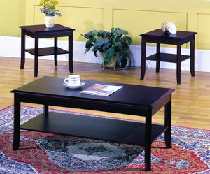 Vania 3 Piece Coffee Table Set, Dark Cherry Wood