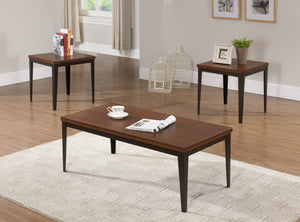 Kaimi 3 Piece Cherry Wood Top Occasional Cocktail Coffee & 2 End Tables Set (Metal Frame) - Pilaster Designs