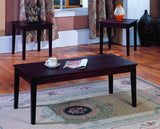 Kalare 3 Piece Merlot Wood Occasional Cocktail Coffee & 2 End Tables Set - Pilaster Designs