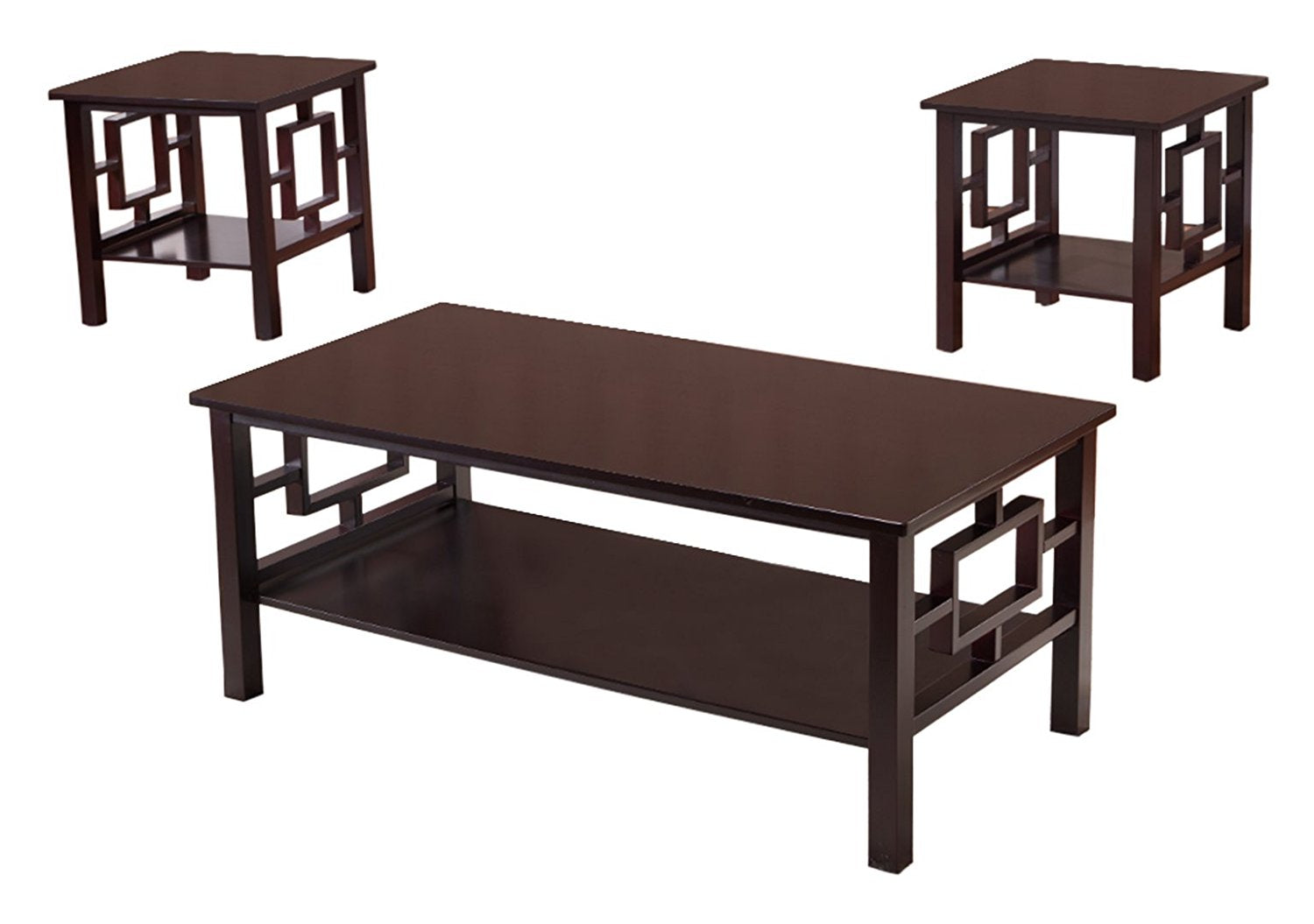 Sabina 3 Piece Coffee Table Set Dark Cherry Wood With