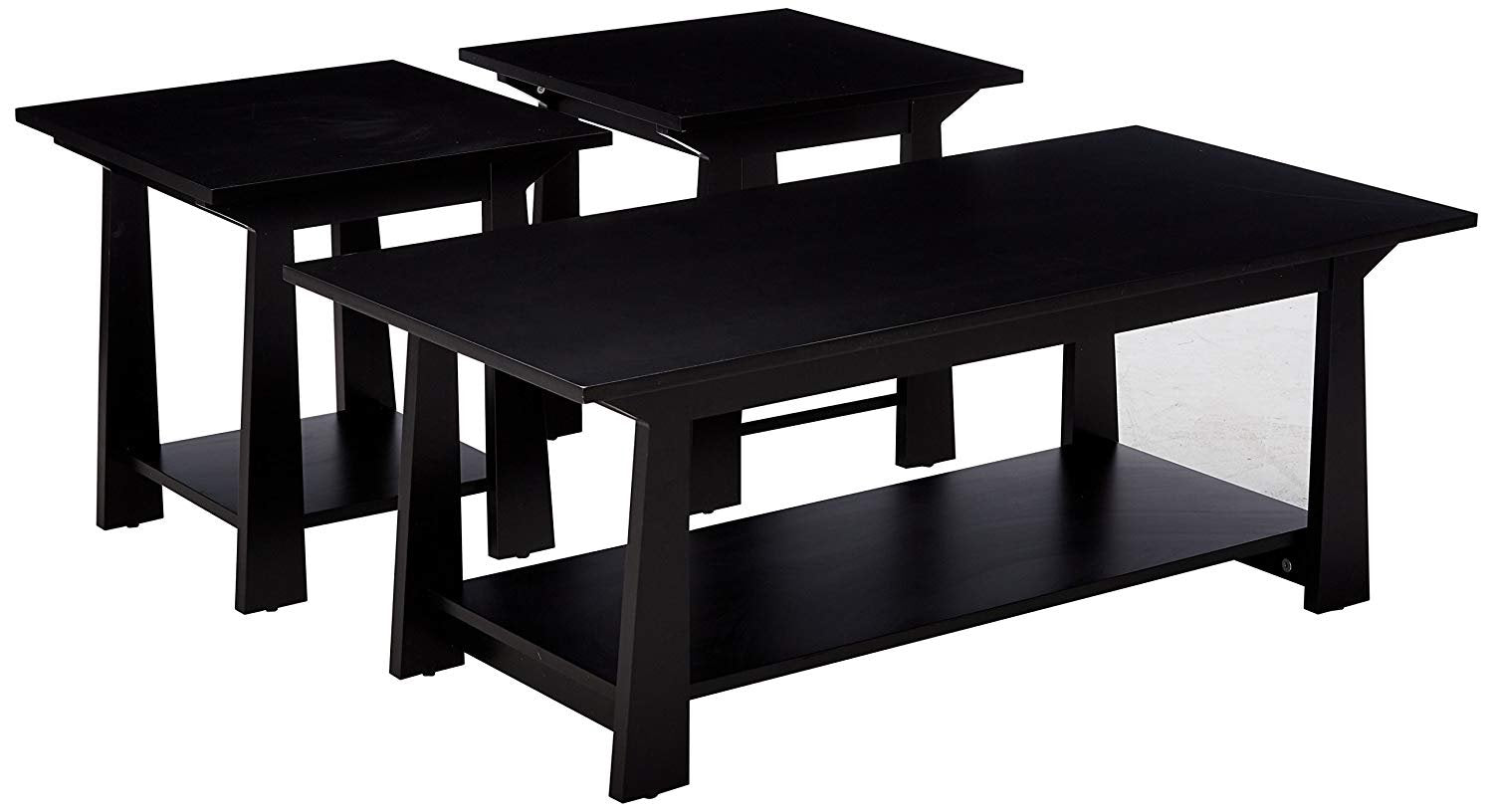 Incredible Sally 3 Piece Coffee Table Set Black Wood With Storage Short Links Chair Design For Home Short Linksinfo
