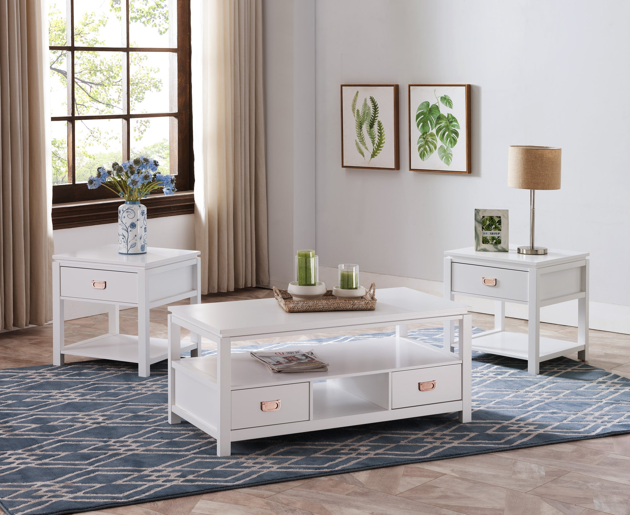 - Adelaide 3 Piece Storage Coffee Table Set, White Wood, With