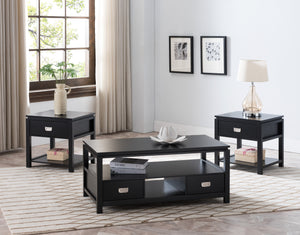 Awe Inspiring Adelaide 3 Piece Storage Coffee Table Set Black Wood With Short Links Chair Design For Home Short Linksinfo