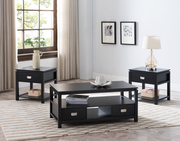 Cordon 3 Piece Wood Contemporary Storage Occasional Table Set (Cocktail Coffee & 2 End Tables) (Drawers & Shelves) (Black, White) - Pilaster Designs