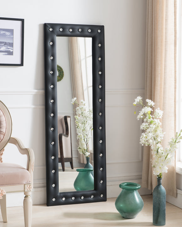 Jane Floor Standing Mirror, Black Faux Leather