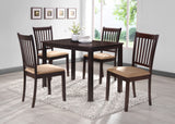 5 Piece Cappuccino Wood Rectangle Kitchen Dinette Dining Table & 4 Side Chairs Set - Pilaster Designs