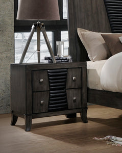 Ash Gray Wood Shaker 2 Drawer Storage Bedroom Nightstand Bedside Table - Pilaster Designs
