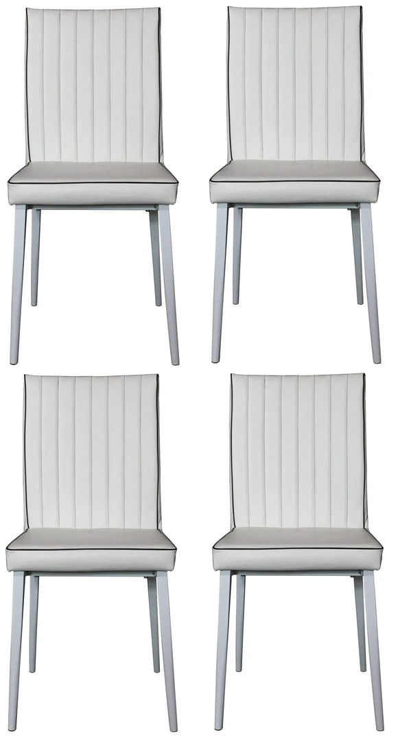 Geneva Dining Chairs, White Faux Leather & Metal