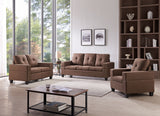Boutwell 3 Piece Living Room Set, Brown Fabric