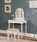 2 Piece White Wood Vanity Display Table With Mirror, Storage Drawer & Ivory Cushioned Seat Bench Set - Pilaster Designs