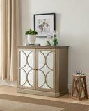 Jaxon Gold Wood Contemporary Accent Entryway Sofa Display Table With Mirrored Storage Cabinet Doors - Pilaster Designs