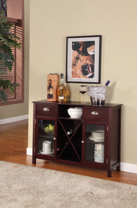 Bryson Bar Cabinet, Dark Cherry Wood & Glass