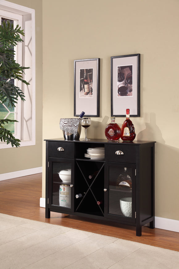 Bryson Bar Cabinet, Black Wood & Glass