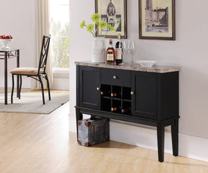 Everett Black & Marble Wood Contemporary Wine Rack Buffet Display Console Table With Storage Drawer & Cabinet Doors - Pilaster Designs