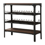 Catalina Wine Rack, Walnut Wood & Black Metal