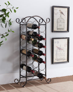 Kaiden Brushed Copper Metal Transitional 21 Bottle Wine Rack Organizer Display Stand - Pilaster Designs