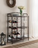 Ashton Wine Rack, Brushed Copper Metal & Wood