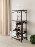 Ashton Brushed Copper Metal Transitional Wine Rack Display Stand With Storage Shelves - Pilaster Designs
