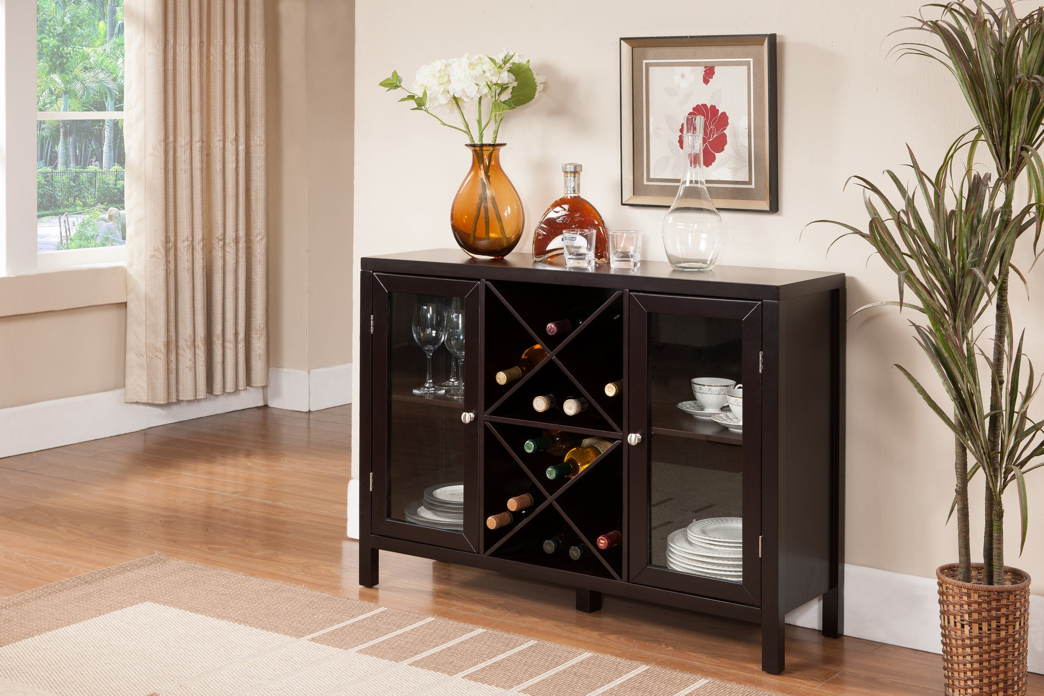 wine rack console table. Espresso Wood Wine Rack Breakfront Sideboard Display Console Table With Glass Storage Doors