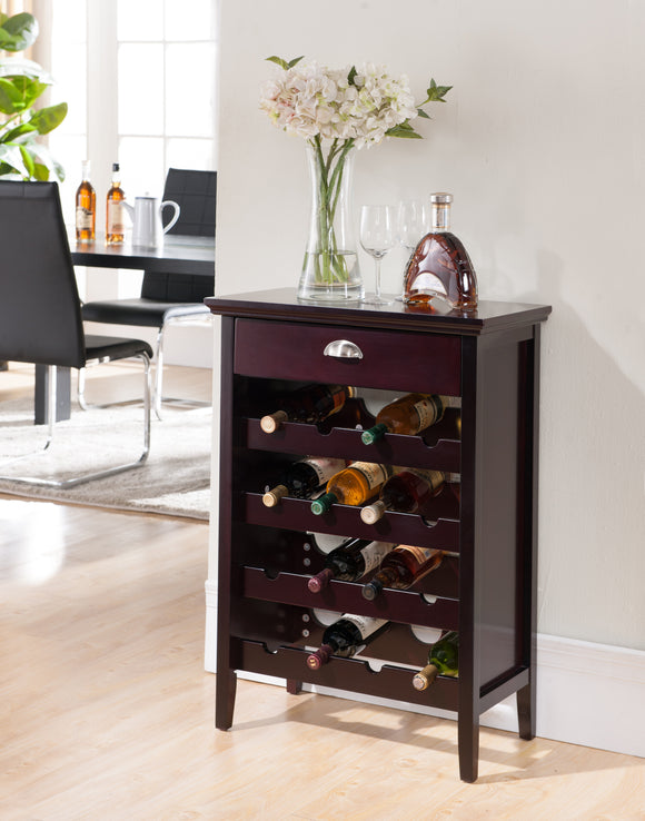 Antonio Dark Cherry Wood Contemporary Wine Rack Buffet Display Cabinet With Storage Drawer - Pilaster Designs