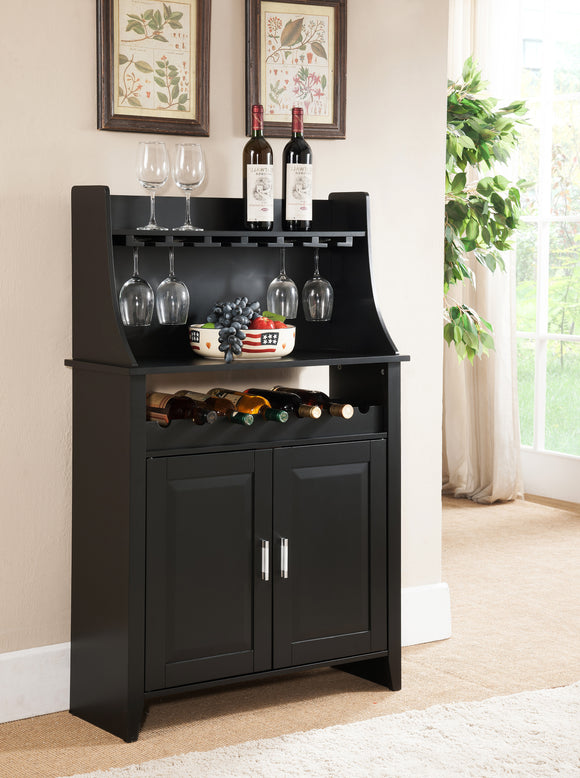 Bennett Black Wood Contemporary Wine Rack Buffet Display Cabinet With Storage Door & Shelves - Pilaster Designs