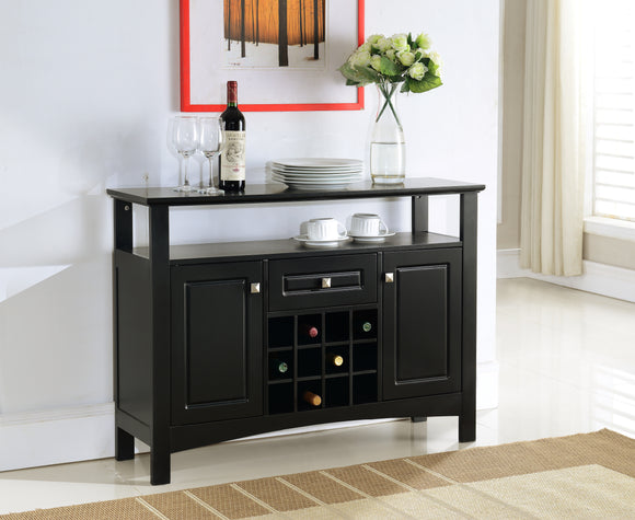 Kaleb Black Wood Contemporary Wine Rack Breakfront Sideboard Display Console Table With Storage  Drawer, Doors & Shelf - Pilaster Designs