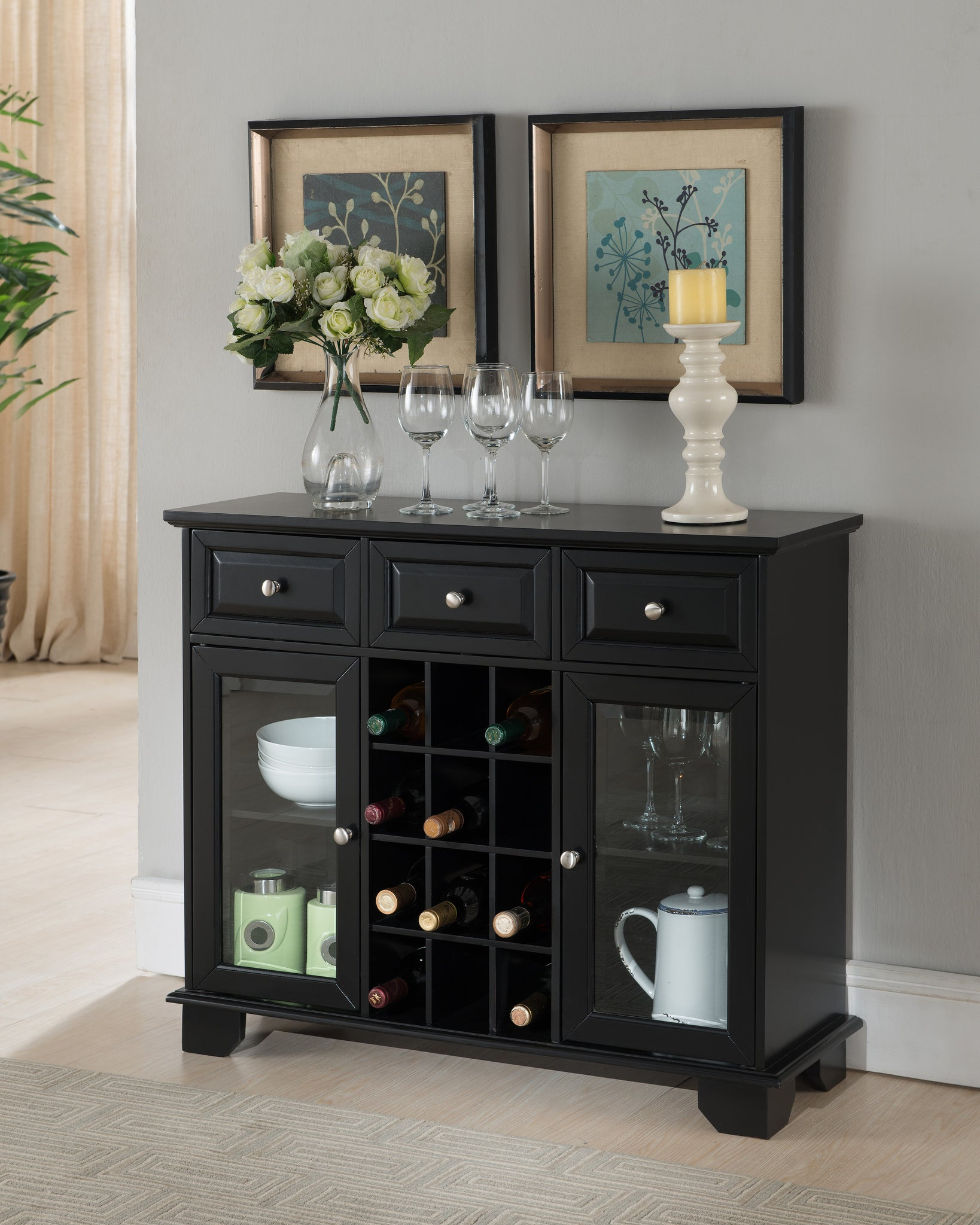 Alan Black Wood Contemporary Wine Rack Breakfront Sideboard Display Console  Table With Glass Storage Doors ...