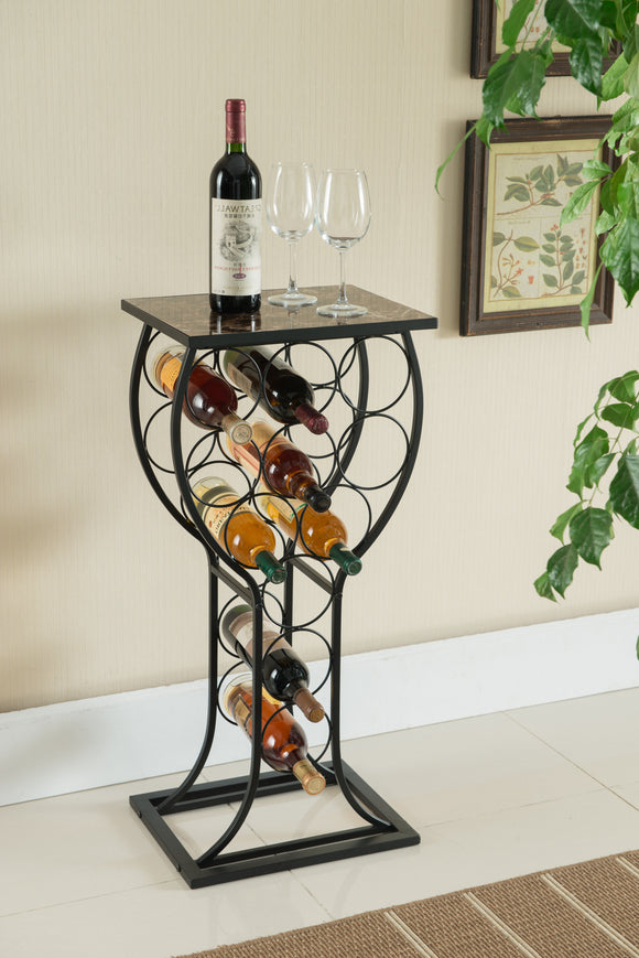 Preston Wine Rack, Black Metal & Marble Wood