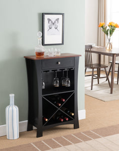 Jasper Wood Transitional Wine Rack Buffet Display Stand With Cup Holders, Drawer & Shelves (Black & Natural, White & Marble) - Pilaster Designs