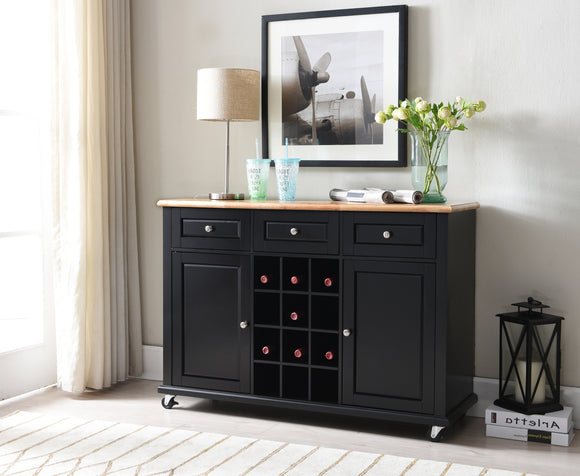 Rowan Bar Cabinet, Black & Natural Wood