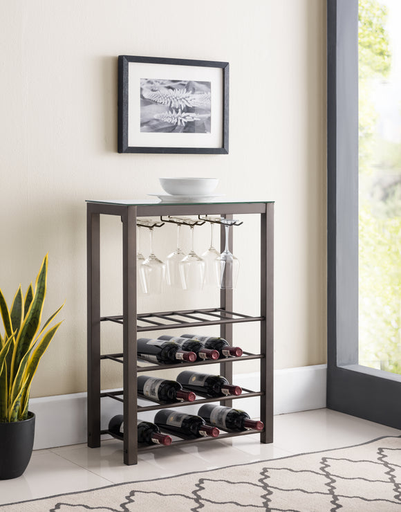 Trier Wine Rack, Pewter Metal & Tempered Glass