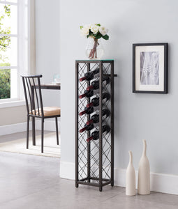 Windy Wine Rack Tower, Pewter Metal & Tempered Glass