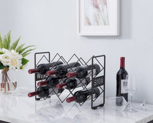 Rockne Countertop Wine Rack, Pewter Metal