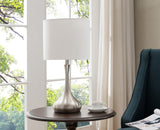 Briley Brushed Nickel With White Fabric Drum Shade Contemporary Bedroom, Bedside, Desk, Bookcase, Living Room Table Lamps (Set Of 2) (Gear Switch) - Pilaster Designs